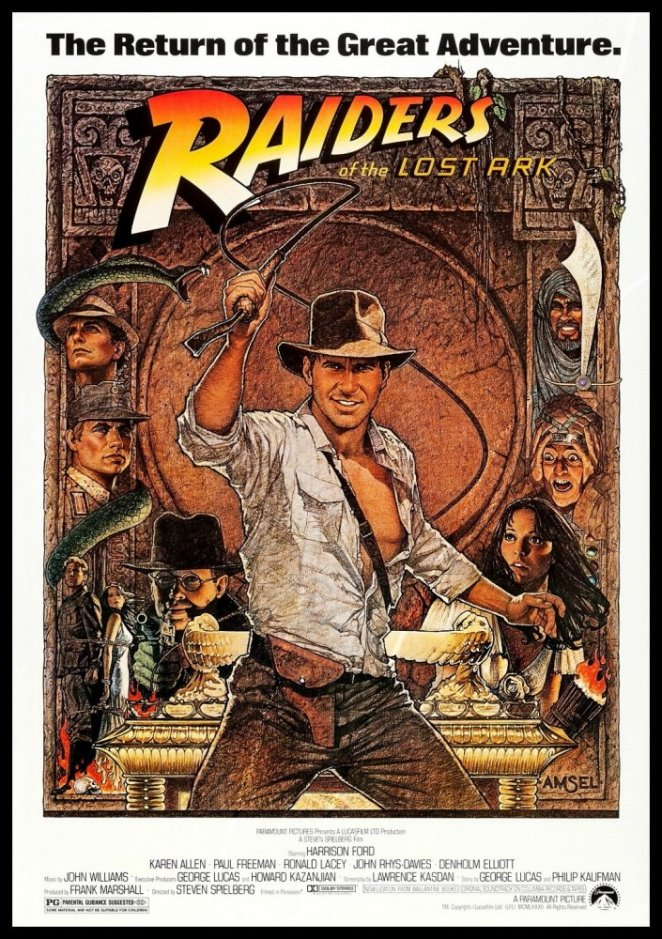 Indiana Jones cracks his whip in front of a golden Ark while heroes and villians are shown on both sides of him