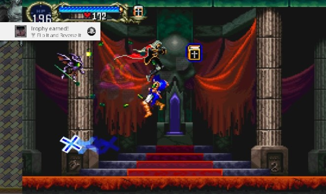 Alucard defeats the spell controlling Richter and saves him, triggering the trophy Flip It and Reverse It