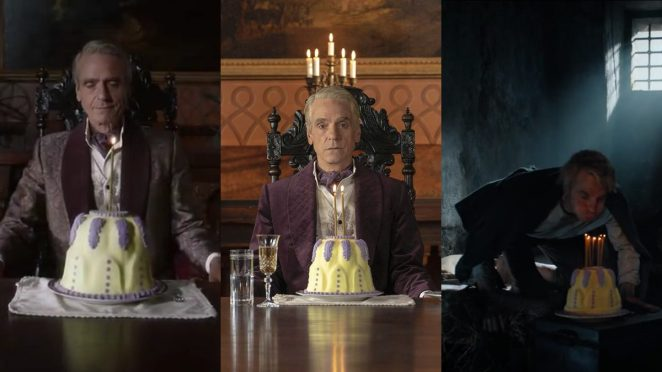 Watchmen - Three scenes of the Lord of a Country Manor with the anniversary cake, one candle, two candles, then seven candles