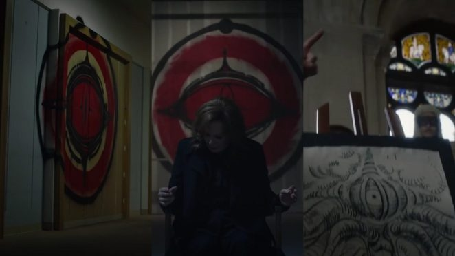 Watchmen - 3 scenes showing the red eye logo in two, and the courtroom drawing of the giant squid in the third