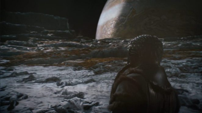 Watchmen - Adrian Veidt, in his buffalo skin space suit, looks out across the desolate Europa landscape at Jupiter looming in the background