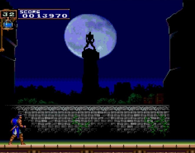 The Wolfman howls at the full moon as you await him in the foreground