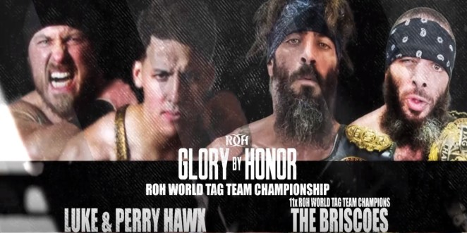 The Graphic Shows The Hawks vs The Bricsoes For The ROH World Tag Team Championship