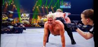 """Cody Rhodes bleeding and in pain as Chris Jericho tries to put him in the """"Walls of Jericho"""" at AEW Full Gear 2019"""