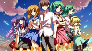 Higurashi When They Cry title image shows all the characters lined up