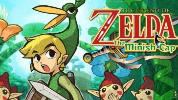 Link, in his signature green tunic, is shrunk down to miniature size, and is flanked by Picori creatures. His anthropomorphic hat, Ezlo, with his long beak, looks on