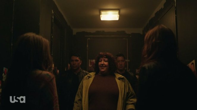 Janice confronts Dom and Darlene with two Dark Army operatives behind her