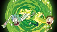 Cover of Rick and Morty S4 shows Rick and Morty falling through a green vortex