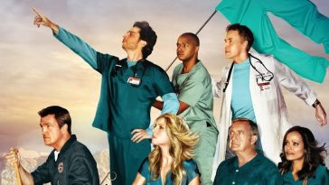 The cast of Scrubs poses in a promo image as though they are on a boat