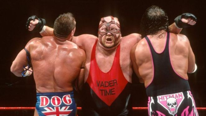 Vader clotheslines British Bulldog and Bret Hart
