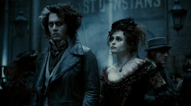 Todd and Mrs Lovett out in the street together