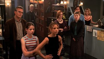 The Scooby Gang huddle around Tara to show their support against her family. Image is own by Disney.