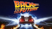 movie poster for back to the future, with the delorean in the background