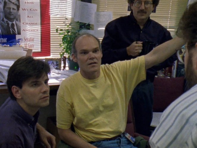 James Carville and George Stephanopoulos discuss strategy in a campaign office