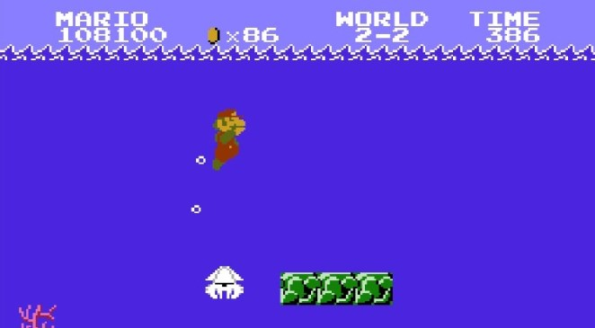 Super Mario holds his nose underwater passing by a white, squid-like Blooper.