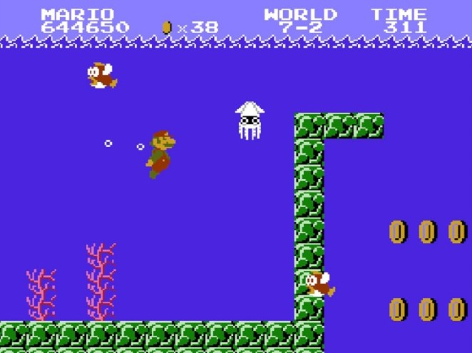 World 7-2 is a tougher remixed version of the underwater level 2-2. Pictured: Super Mario tries to move past a Blooper.
