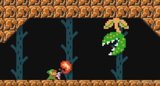 Link defends against a Piranha plant fireball using his shield
