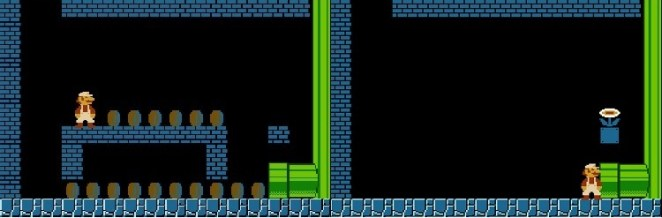 A side by side comparison of a bonus level before and after all coins and bricks are destroyed.