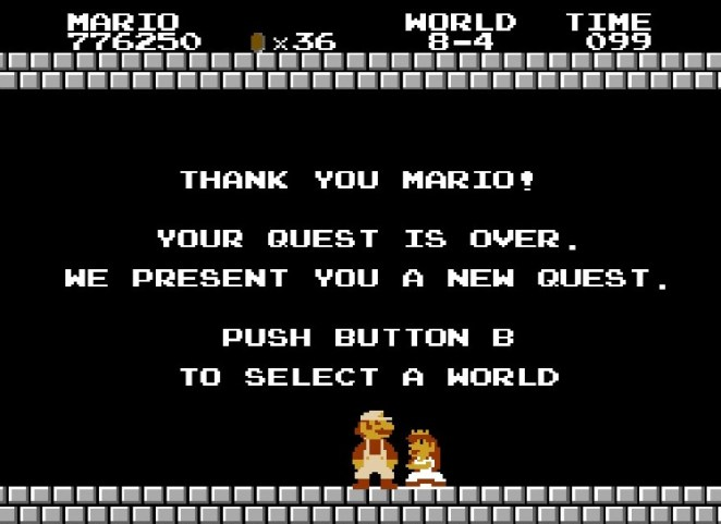 "Mario rescues Princess Toadstool. She says, ""Thank you Mario! Your quest is over. We present you a new quest!"""
