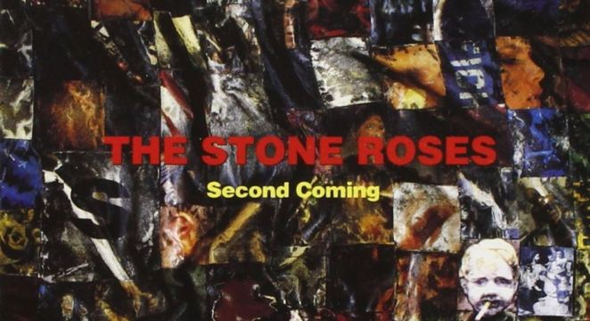 "An assortment of haphazard photo collage that is reminiscent of shards of glass. ""The Stone Roses"" is in red and ""Second Coming"" is in smaller yellow font on top of the collage."