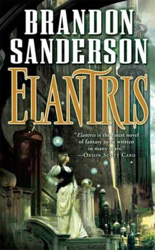 The cover of Elantris, which has a woman in formal wear and a man in red armor looking at a vast city