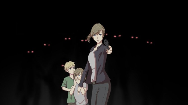 Chloe wields a gun against a wave of darkness while her children look on in horror