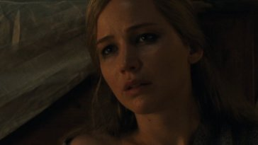 Jennifer Lawrence as mother with a concerned expression