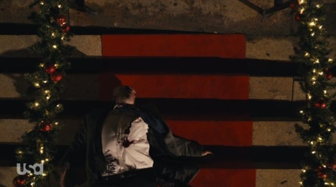 Price bleeds out on the stairs