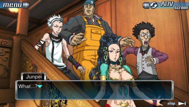 Four characters, a buxom woman in skimpy clothing, a large man in orange overalls, an older man with curly hair, and a young man with white hair, stand in alarm on some stairs.
