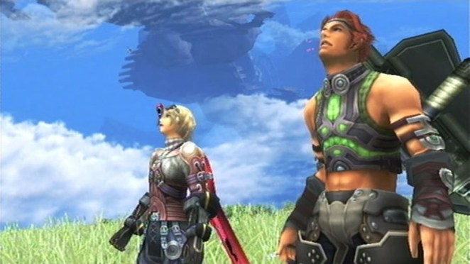 Shulk and Reyn look up at an off screen threat.