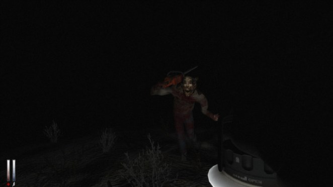 The player character Simon holds a lantern while a figure in a theater mask runs at him with a chainsaw