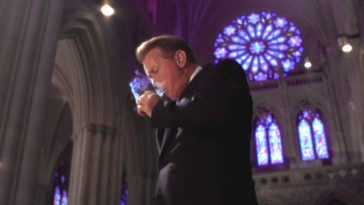 "President Bartlet lights a cigarette in church in The West Wing ""Two Cathedrals"""