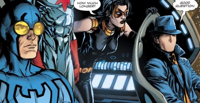 Blue Beetle, The Question, Nightshade and Captain Atom on board a ship