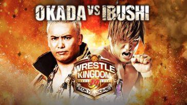 Okada and Ibushi pose next to a fiery background