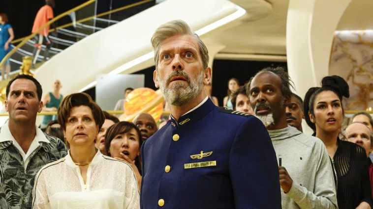 Captain Ryan Clark (Hugh Laurie) looks on with surprise at something off-screen.