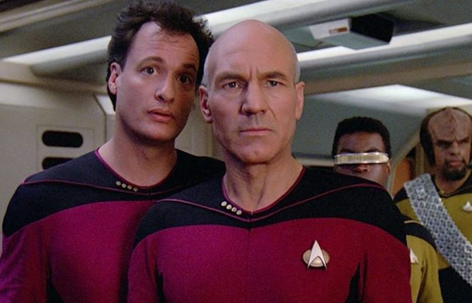 Picard looking concerned while Q whispers torments