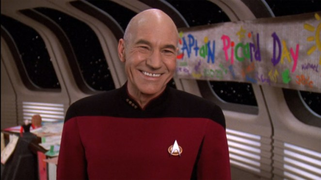 Picard laughing on Captain Picard Day