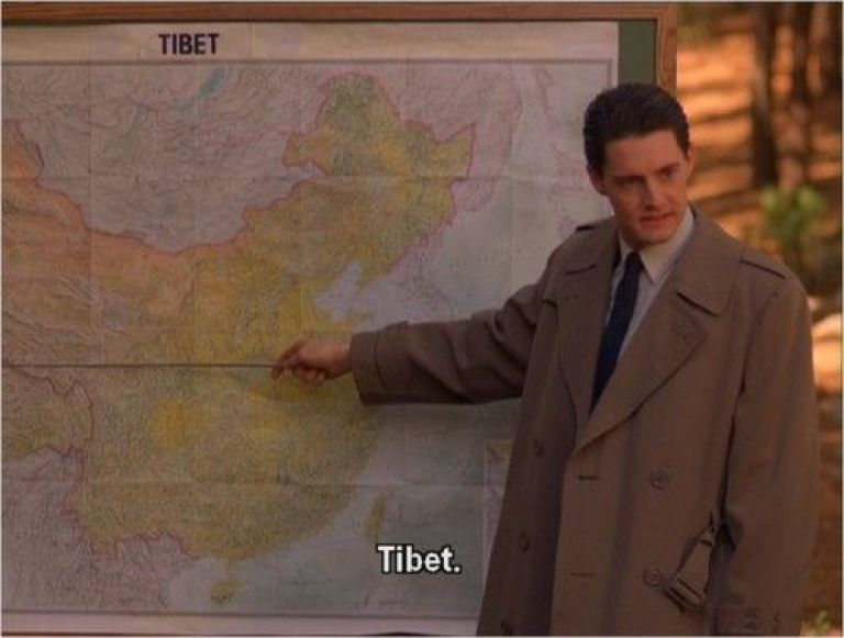 Agent Cooper points to a map of Tibet