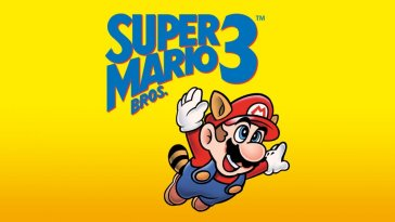 The simple cover art for Super Mario Bros 3. Mario has a raccoon tail and ears and is flying through the air with a look of pure joy on his face. The title sits in blue above him.