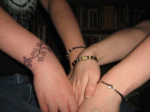 brand new tattoo (that I designed) and the bracelet (that I gave him).