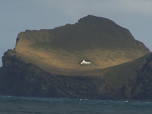 "This house is located on an island called Elliðaey near Vestmannaeyjar, a small archipelago off the south coast of Iceland. The house was given to singer, Bjork from her motherland as a ""Thank You"" for putting Iceland on the international map."