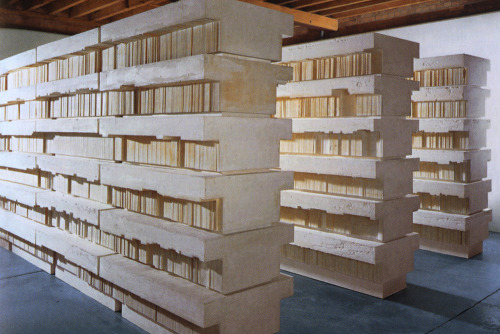 Rachel WhitereadUntitled (Book Corridors) (1997-1998)plaster, polystyrene, steelRachel Whiteread has made a career out of filling in negative space. Many of her projects involve complex castings of forgotten or ignored expanses including the spaces under chairs and bed frames, library bookshelves, stairwells, and occasionally whole rooms and abandoned houses. These spaces become weirdly alien when they become objects occupying space of their own.