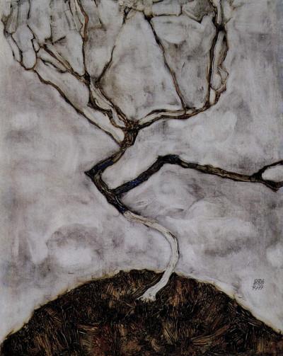 Egon Schiele, Kleiner Baum im Spätherbst, 1911  Oil on canvas (via Primero Be, Artes Plásticas, arsvitaest)