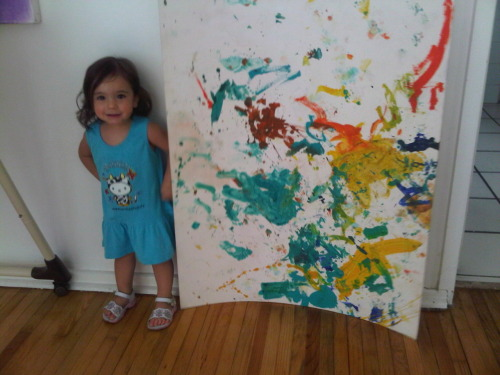 My daughter's first painting…my 18 month daughter was given a board, a brush and 4 small bottles of acrylic and paints better than I do at 36 years old.