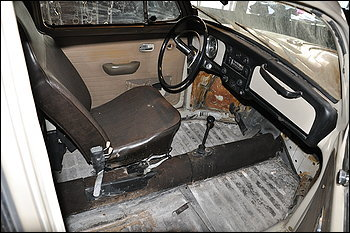 o interior do fusca de Ted Bundy