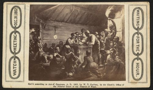 Watch meeting, Dec. 31, 1862—Waiting for the hour / Heard & Moseley, Cartes de Visite, 10 Tremont Row, Boston. (African American men, women, and children gathered around a man with a watch, waiting for the Emancipation Proclamation.) c.1863