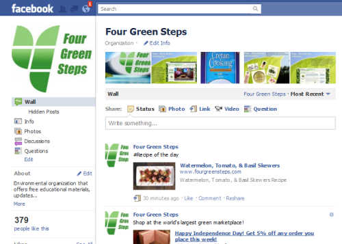 Four Green Steps green facebook page tips, vegan and vegetarian recipes and more
