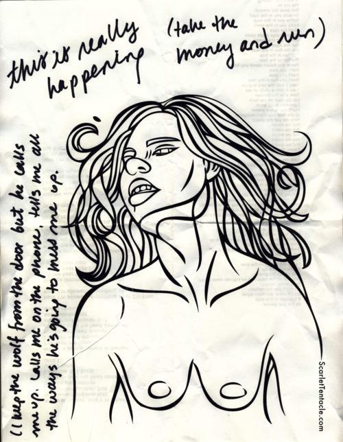 Scarlet Tentacle half naked thursday pin up girl vector illustration
