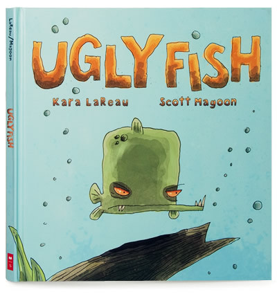 Ugly Fishwritten by Kara LaReau, illustrated by Scott MagoonScholastic Australia 2007A gripping, cautionary tale set in the ruthless badlands of the domestic fish tank, Ugly Fish pulls no punches, there is no fairy-tale ending for these fish…  But there is a humorous little story with some great characters and a wonderfully satisfying moral to wrap it all up. The illustrations are delightfully ugly; drawn in pen and ink then digitally coloured, presented on a matte stock.  The perfect book for the little bully.Buy on Amazon /Buy on Book Depository /