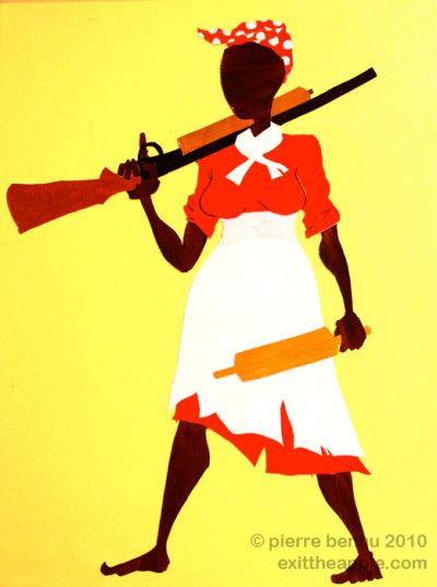 "Jemima's Revenge""  cut paper & acrylic on large canvas 2010 - Pierre Bennu"